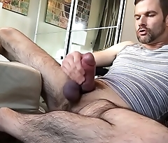 fat dicked DILF jerks off his wrist thick hairy beercan cock hairy legs with an increment of pits