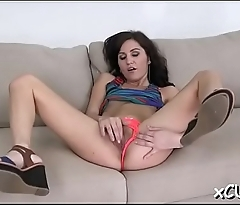 Tiny titted hottie takes big rod