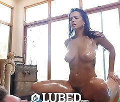 LUBED Big tit brunette Keisha Grey fucked in tiny lubed up pool