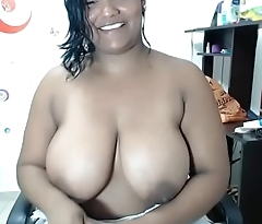 Broad in the beam ebony big boobs with wet
