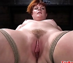 Chubby redhead sub gets whipped by maledom