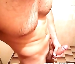 Hairy Chest Hunk Jerks off And Cums in Bathroom