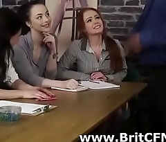 Bad British girls make senior black guy squinny at at interview