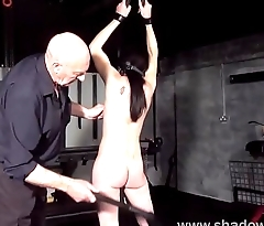 Amateur bdsm and brutal whipping of tied private resultant girl Lolani in tit tortur