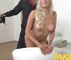 Fake Agent Euro chick loves giving tit wank and blowjob on casting couch